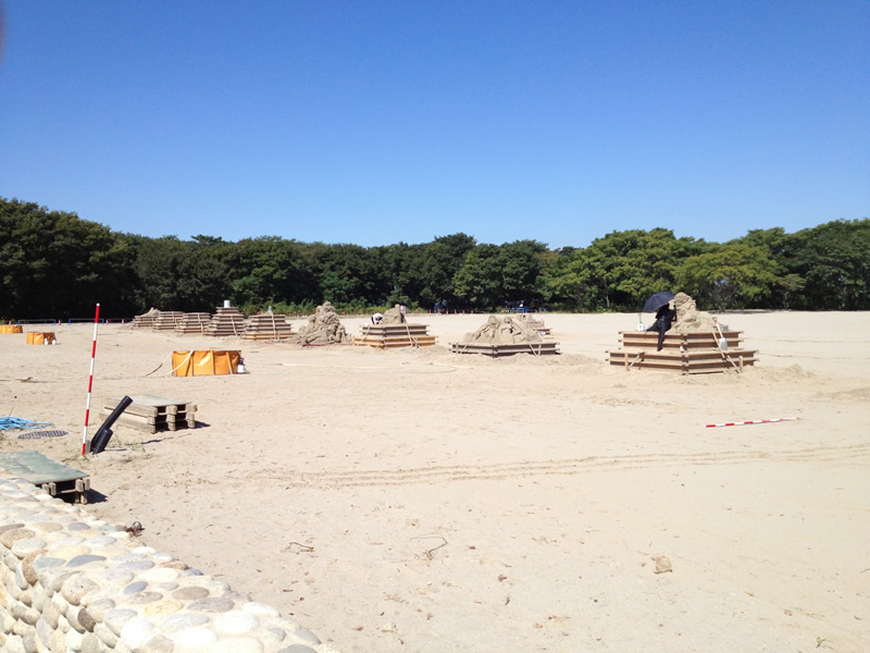 砂像の制作風景