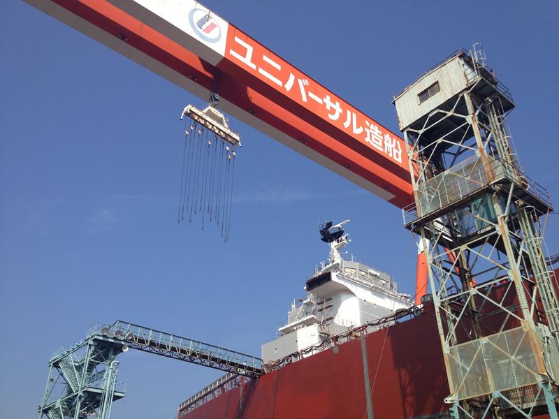 ユニバーサル造船 建造中の船