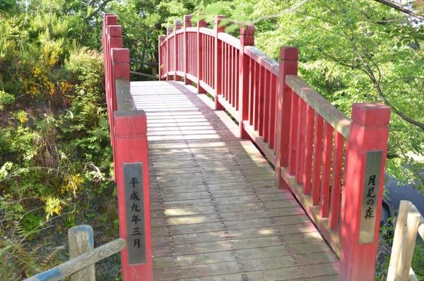 月見の森にある赤い橋